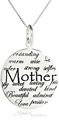"Sterling Silver ""Mom, Understanding, Warm, Wise, Strong, Loving ..."