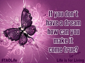 ... you don't have a dream how can you make it come true? #quote #taolife