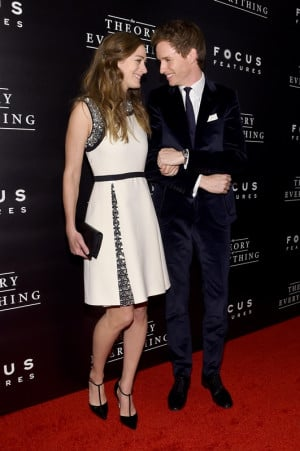 Eddie Redmayne and Hannah Bagshawe at NYC premiere of The Theory Of ...