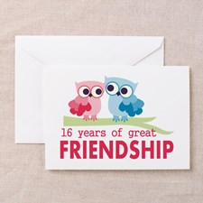 16th Wedding Anniversary Owls Greeting Card for