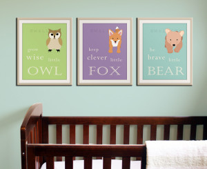 Baby Nursery Art Prints: Woodland Nursery Decor}