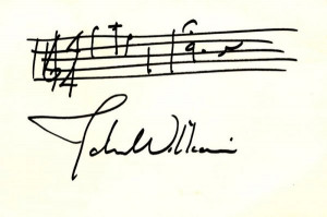 0728: JOHN WILLIAMS HANDWRITTEN SIGNED MUSICAL QUOTE