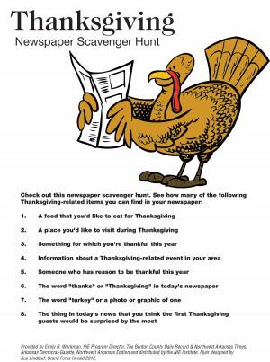 Thanksgiving Newspaper Activities