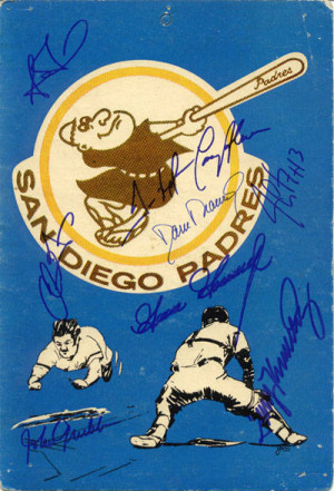 8x10 San Diego Padres Logo Board Autographed By Steve Finley Trevor