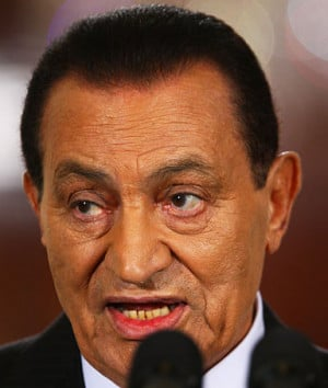 Egyptian President Hosni Mubarak speaks during an East Room statement ...
