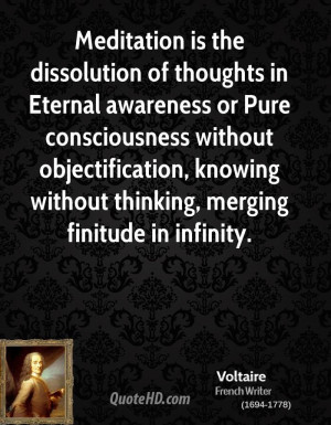 ... objectification, knowing without thinking, merging finitude in