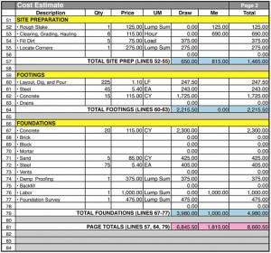 Home Construction Cost Estimate Sheet