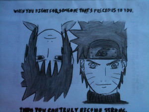 Naruto and Sasuke Sketch [Haku's Quote] by xStarrySkies