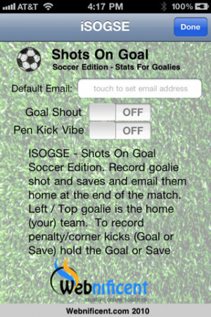... Soccer Goalie Stats iPhone App Review Download iSOGSE Soccer Goalie