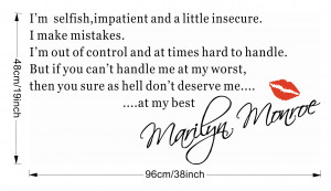 MARILYN MONROE I'M SELFISH Quote Wall Sticker Art Decal Home Decor ...