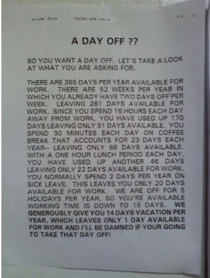 Day Off? – 1 Day of work per year