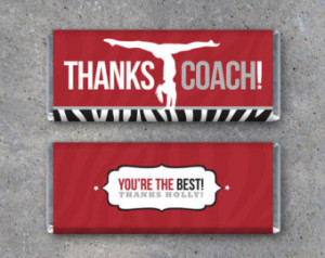 Personalized Gymnastics THANKS COACH Candy Bar Wrapper – Printable ...