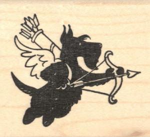 ... 20101 Valentine's Day Scottish Terrier Dog Cupid Rubber Stamp, Scottie