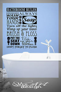 ... -RULES-WASH-YOUR-HANDS-lettering-VINYL-DECAL-WALL-STICKER-QUOTE-DECOR