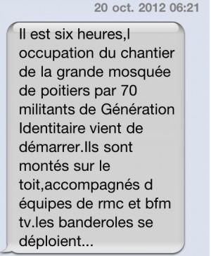 SMS reçu samedi matin, alertant sur l'opération à Poitiers. DR