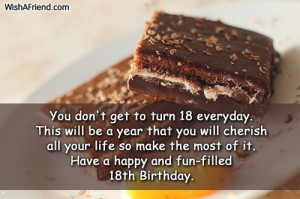 Happy 18th Birthday Message Have a happy and fun-filled
