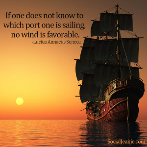If one does not know which port one is sailing, no wind is ...