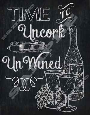 Chalkboard Style Wine Quote Art Printable Sign Digital Download Hi Res ...