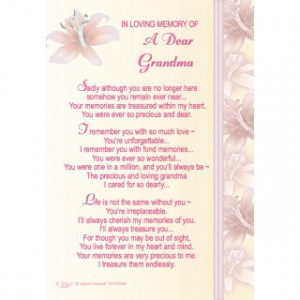 In Loving Memory Of A Dear Grandma' Graveside Memorial Card With ...
