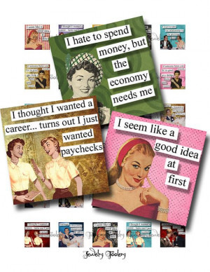 1x1 Digital Collage Sheet Retro Ladies With an Attitude Quotes ...