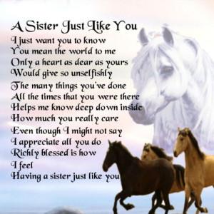 Personalised Coaster - Sister Poem - Horses Design +