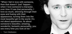 Tom Hiddleston Quotes Beautiful quote from tom
