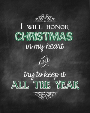 Honor Christmas Quote in Black and Green