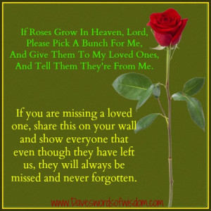 If roses grow in heaven, Lord, please pick a bunch for me,
