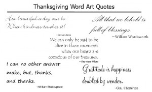 Thanksgiving quotes word art for scrapbooking and cardmaking.