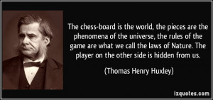 The chess-board is the world, the pieces are the phenomena of the ...