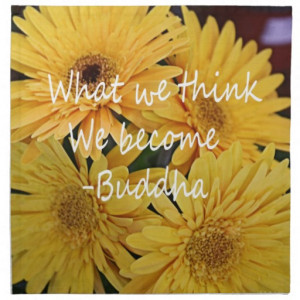 Pretty yellow flowers and an inspirational quote cloth napkins