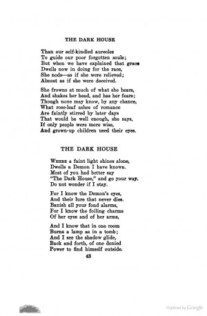 The Dark House - Edwin Arlington Robinson. One of my absolute favorite ...