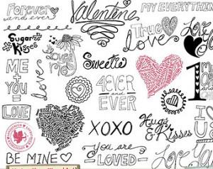 Sale - Valentine Word Art - Va lentine Doodles - Love Quotes & Sayings ...