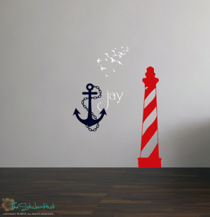 Nautical Theme Lighthouse Anchor Birds Vinyl Wall Quote Saying ...