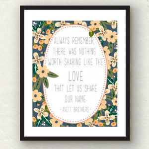 Avett Brothers Quote Floral Print - Charcoal and Blush (INSTANT ...