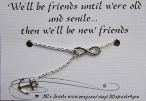 Infinity and Anchor Charm Necklace and Funny Friendship Quote Card ...