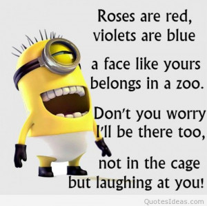 Funny joke minion roses are red