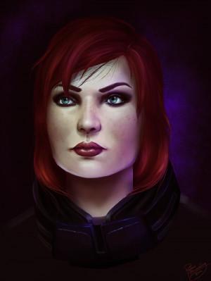 Beautiful portrait of female Commander Shepard by Ruthie Hammerschlag