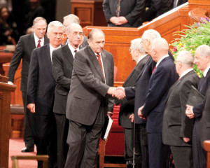 All-powerful Mormon president Thomas S. Monson greets the white male ...