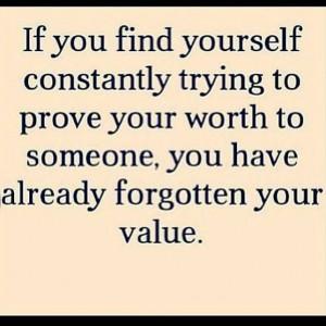 Self worth...