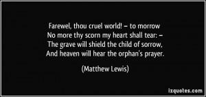 Farewel, thou cruel world! – to morrow No more thy scorn my heart ...