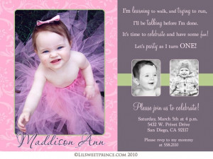 First Birthday Themed Girl Invitations