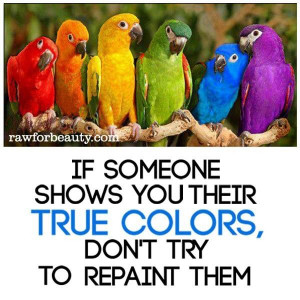 If someone shows you their true colors, don't try them to repaint ...