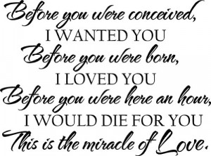 ... would die for you This is the miracle of Love wall art vinyl sayings