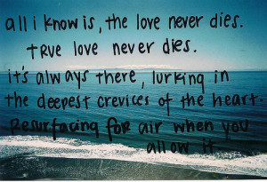 All I know is, the love never dies. True love never dies. It's always ...