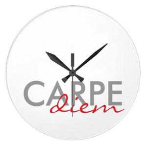 Gray and Red Custom Latin Quotes Carpe Diem Round Wall Clock