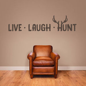 LIVE-LAUGH-HUNT-Wall-Decals-Hunting-Decor-Stickers-Quotes-Graphics