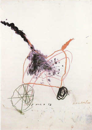 ANABASIS 1983 / OIL PAINT, WAX CRAYON, COLLAGE, PENCIL, 142 X 128 CM.