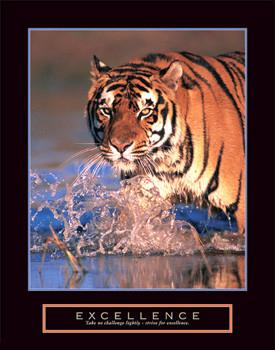 EXCELLENCE (Bengal Tiger) Motivational Poster Print - Front Line Art ...