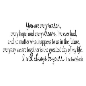 The Notebook quote - You are every reason